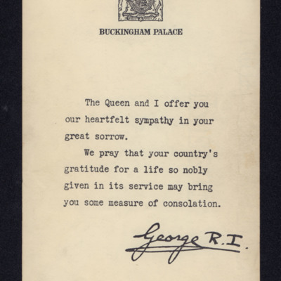 Letter of condolence from King George